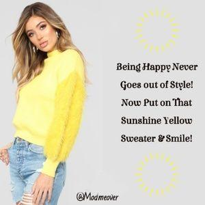 NEW Sunshine Yellow Sweater W/ Fuzzy Sleeves